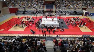 Primera velada de boxeo tras la pandemia de covid-19 en el Pabellón Siglo XXI de Zaragoza.