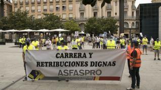 Protesta de militares en Zaragoza para reclamar subidas de sueldos.