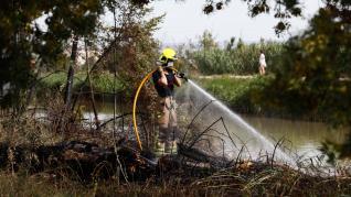 Arde una zona de matorral junto al Canal Imperial, a la altura del campin de Zaragoza.