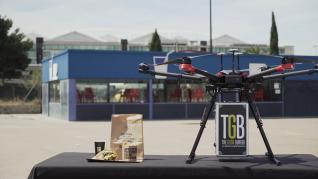Las pruebas del envío de una hamburguesa con dron se realizaron en el entorno de la Expo.