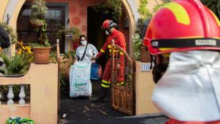 Efectivos de la UME trabajando en La Palma