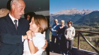 En la fotografía de la izquierda, Esther Palacios bailando con su abuelo el día de su Primera Comunión. A la derecha, con sus abuelos en el Pirineo.