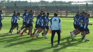 Raúl Agné dirige su primer entrenamiento como técnico del Real Zaragoza