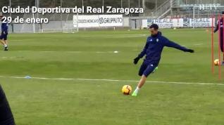 El Real Zaragoza celebra San Valero entrenando