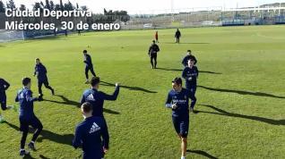 Primer entrenamiento de Dorado con el Real Zaragoza