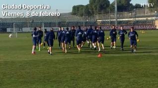 Último entrenamiento del Real Zaragoza antes de viajar a Lugo