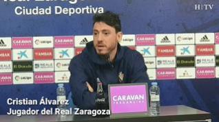 """Cristian Álvarez, del Real Zaragoza: """"Vamos a estar al 100% hasta el último día"""""""