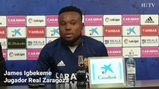 """Igbekeme, del Real Zaragoza: """"Estoy seguro de que el equipo acabará en buena posición"""""""