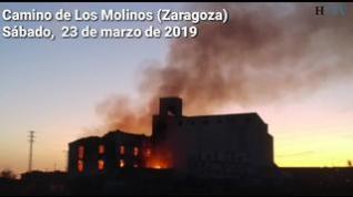 Incendio en un edificio abandonado en el Camino de los Molinos de Zaragoza