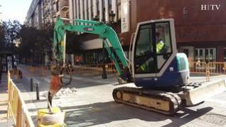 La calle de Don Jaime de Zaragoza, cortada al tráfico por la reparación de una tubería