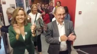 Aplausos y euforia en el PSOE con la llegada de Lambán y Alegría