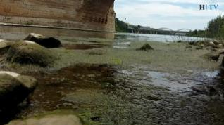 El río Ebro, con el nivel más bajo del año