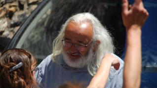 José Luis Murillo, maestro jubilado, en la fiesta de despedida que le hizo la comunidad educativa en Sahún.