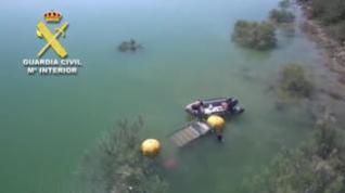 Aparece un cadáver en un coche hundido en el pantano de Civán de Caspe