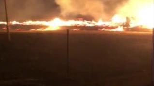 Un incendio arrasa una nave de embalajes en el polígono El Portazgo de Zaragoza