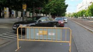 El paseo de la Independencia de Zaragoza, cortado al tráfico por obras