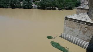 El Ebro, este jueves, a su paso por Zaragoza (1)