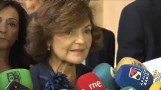 """Carmen Calvo pide a las derechas que no """"obstaculicen"""" el resultado de las urnas"""