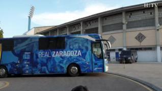 El Real Zaragoza llega a La Romareda entre aplausos