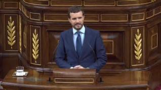 """Casado acusa a Sánchez de utilizar el Congreso para su """"deseada pero oculta campaña electoral"""""""