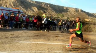 Seis atletas, cuatro hombres y dos mujeres, han competido por relevos contra dos caballos en las fiestas de Lanaja.