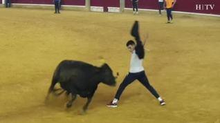 Vaquillas saltarinas, caídas y volteretas, protagonistas de la cuarta mañana de vaquillas en Zaragoza