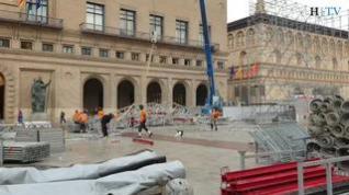 Tras las Fiestas del Pilar... Comienza el desmontaje de los escenarios y llega la lluvia a Zaragoza