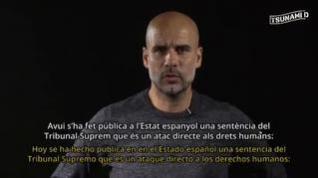 Pep Guardiola pone voz al comunicado de Tsunami Democràtic