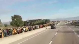 Las  marchas independentistas cortan varias carreteras