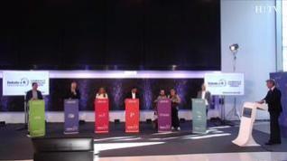 Los candidatos al Congreso por Zaragoza responden en la pizarra en el debate HERALDO