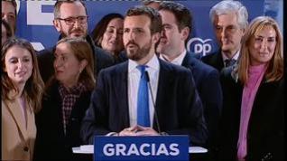 """Pablo Casado: """"Estos son unos buenos resultados para el Partido Popular pero malos para la gobernabilidad de España"""""""