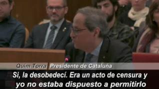 "Torra admite que no cumplió la orden de la Junta Electoral: ""Sí, la desobedecí"""