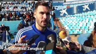 Pichu Atienza, jugador del Real Zaragoza, habla sobre la suspensión del partido frente al Sporting de Gijón y el objetivo del equipo tras la jornada de entrenamiento a puertas abiertas que ha ofrecido el club zaragocista en La Romareda.