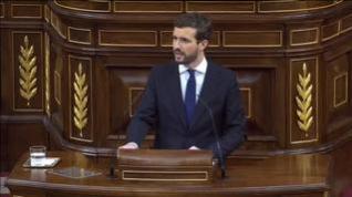 Fuerte enfrentamiento entre Sánchez y Casado en el debate de investidura