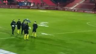 Suspendido el Mirandés-Real Zaragoza por la fuerte lluvia y el pésimo estado del campo