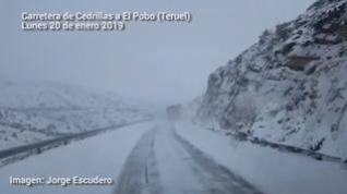 Cerca de 500 kilómetros de carreteras turolenses están afectados por la nieve