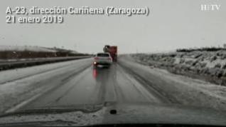 La nieve afecta a las carreteras de la comarca Campo de Cariñena