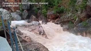 Las lluvias causan inundaciones en la ribera del Cinca y cierran las pasarelas de Alquézar