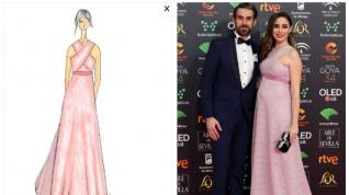 Candela Serrat con su pareja Daniel Muriel y un vestido de Dolores Promesas. A la izquierda, el boceto.