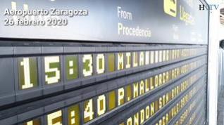 Algunos pasajeros del vuelo Bérgamo-Zaragoza han llegado con mascarillas.
