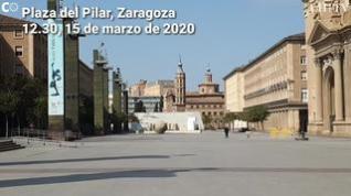 Los zaragozanos se quedan en sus casas y dejan la capital aragonesa vacía