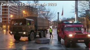 La UME revisa las zonas de mayor riesgo de propagación del virus en Zaragoza