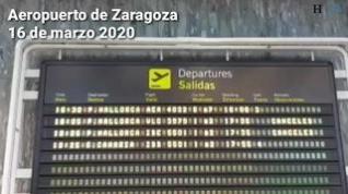 El aeropuerto de Zaragoza, prácticamente vacío por el coronavirus
