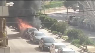 Incendio de un coche en Casetas