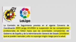 El fútbol se suspende hasta nueva orden