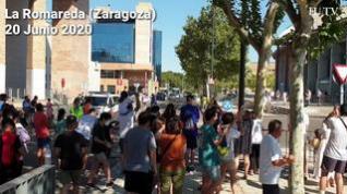 Llegada del Real Zaragoza a La Romareda