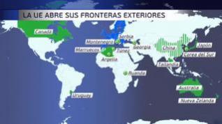 Europa abre sus fronteras a 15 países