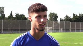 """Javi Puado, del Real Zaragoza: """"Tenemos muchas ganas de competir y llevarnos los 3 puntos en Gerona"""""""