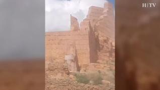 Las cabras montesas 'conquistan' el castillo de Monreal de Ariza.