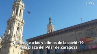 Homenaje a las víctimas de la covid-19 en la plaza del Pilar de Zaragoza